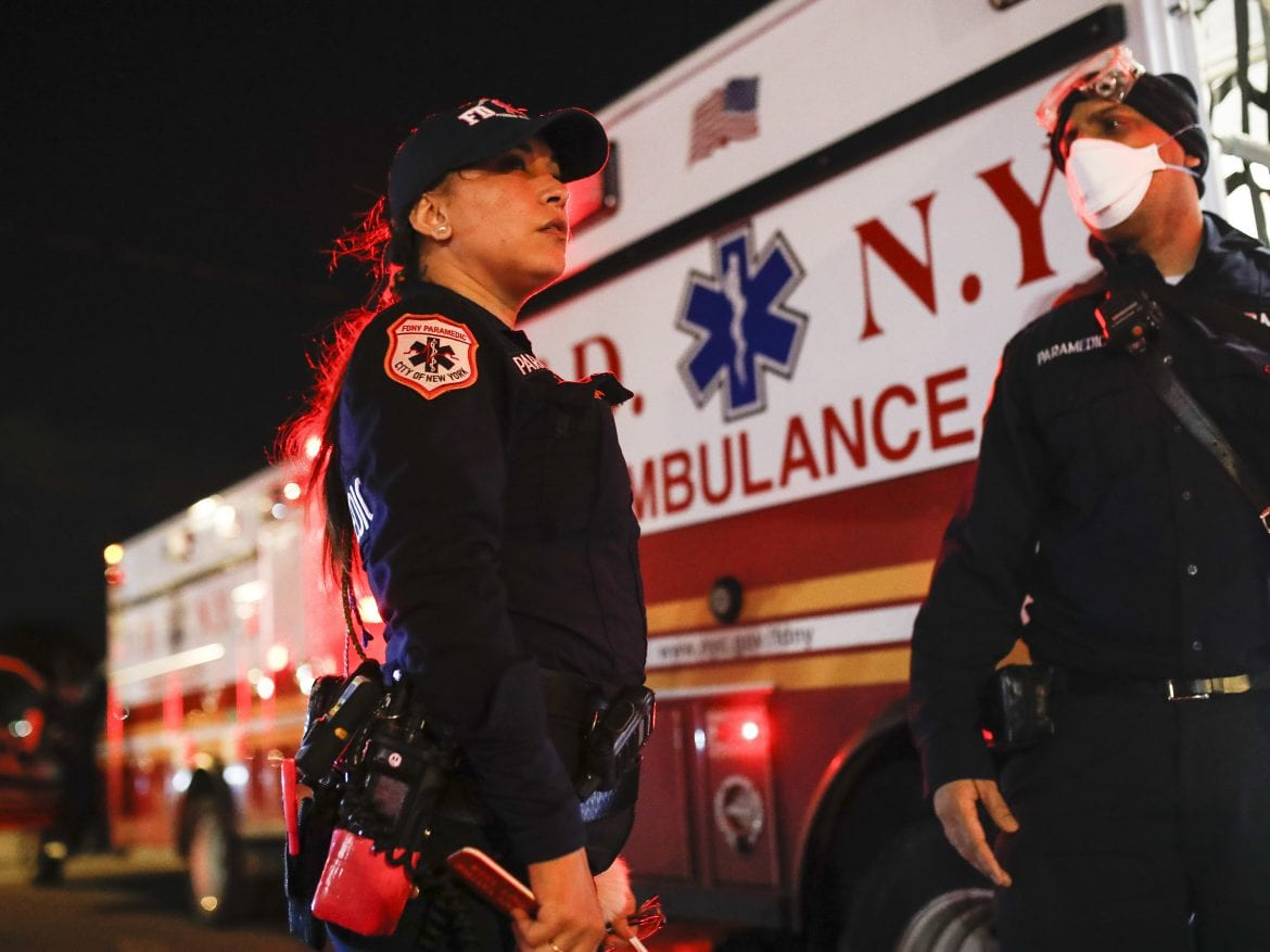 New York City Fire Department paramedic Elizabeth Bonilla (left) says she's been having a hard time sleeping in the dark since the coronavirus outbreak began.