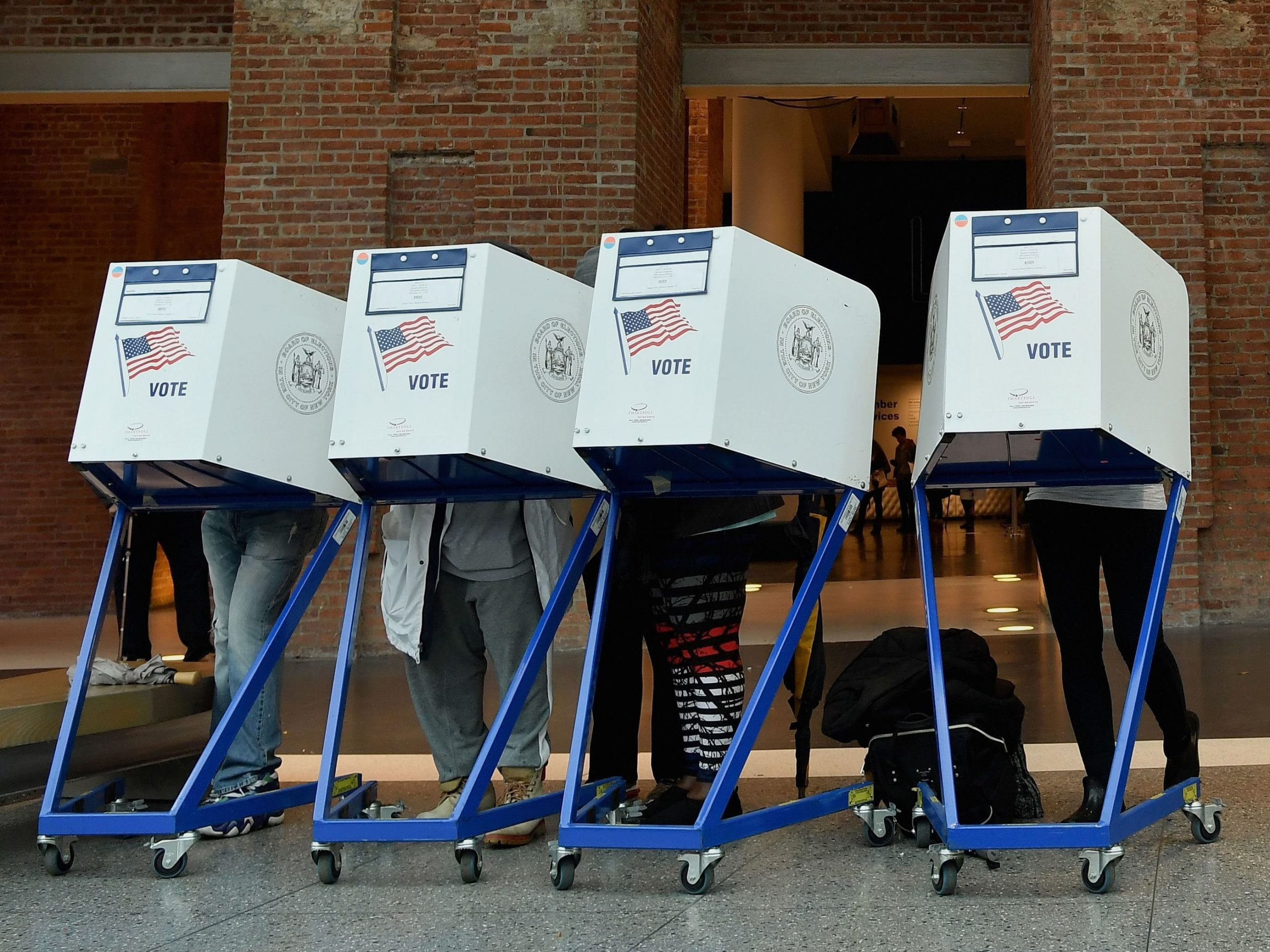 Voters cast their ballots in the midterm election in Brooklyn on November 6, 2018.