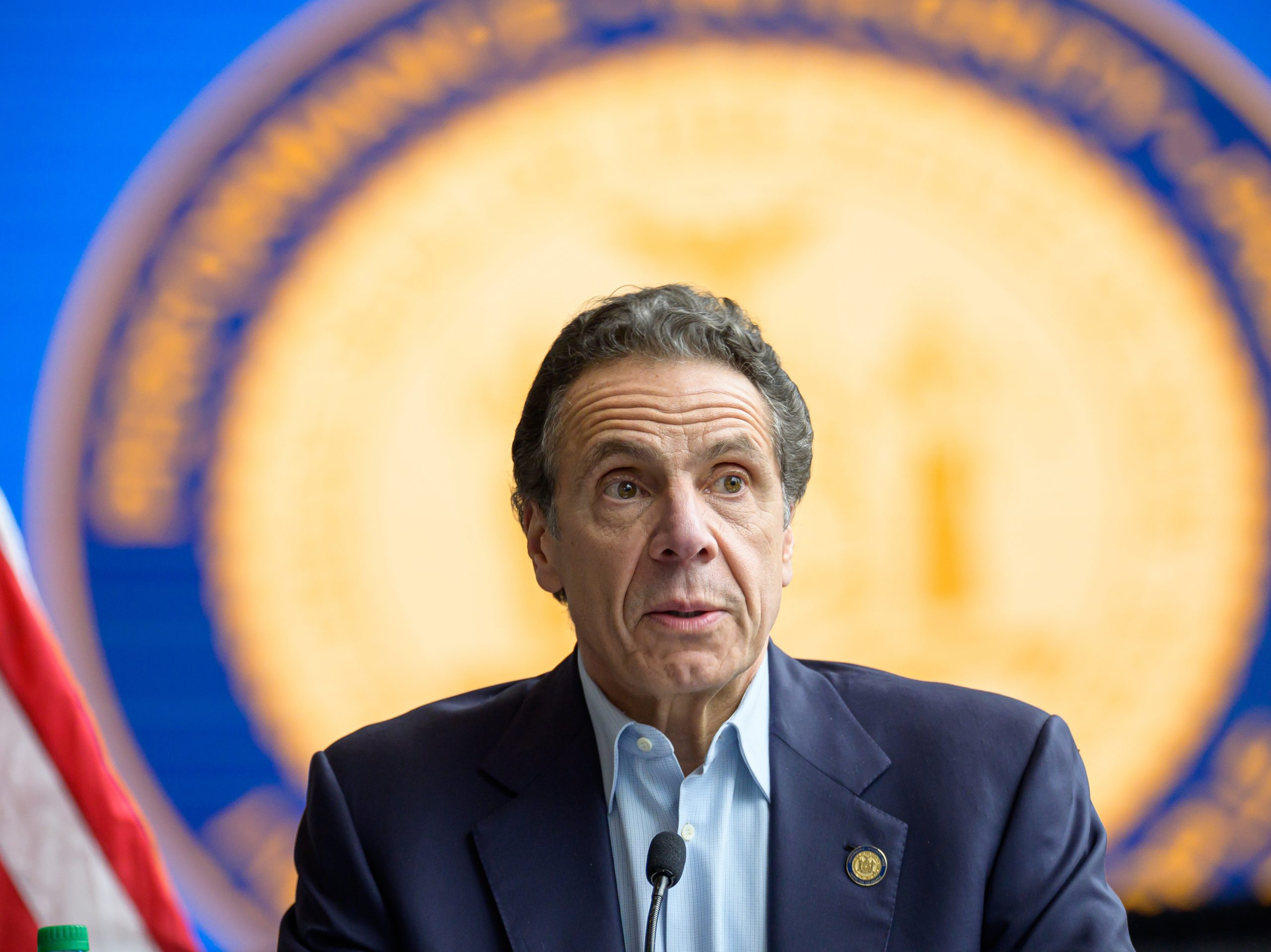 Following the arrival in New York City of the U.S. Naval hospital ship Comfort, N.Y. Gov. Andrew Cuomo is seen during a press conference on March 30 at the field hospital site at the Javits Center.