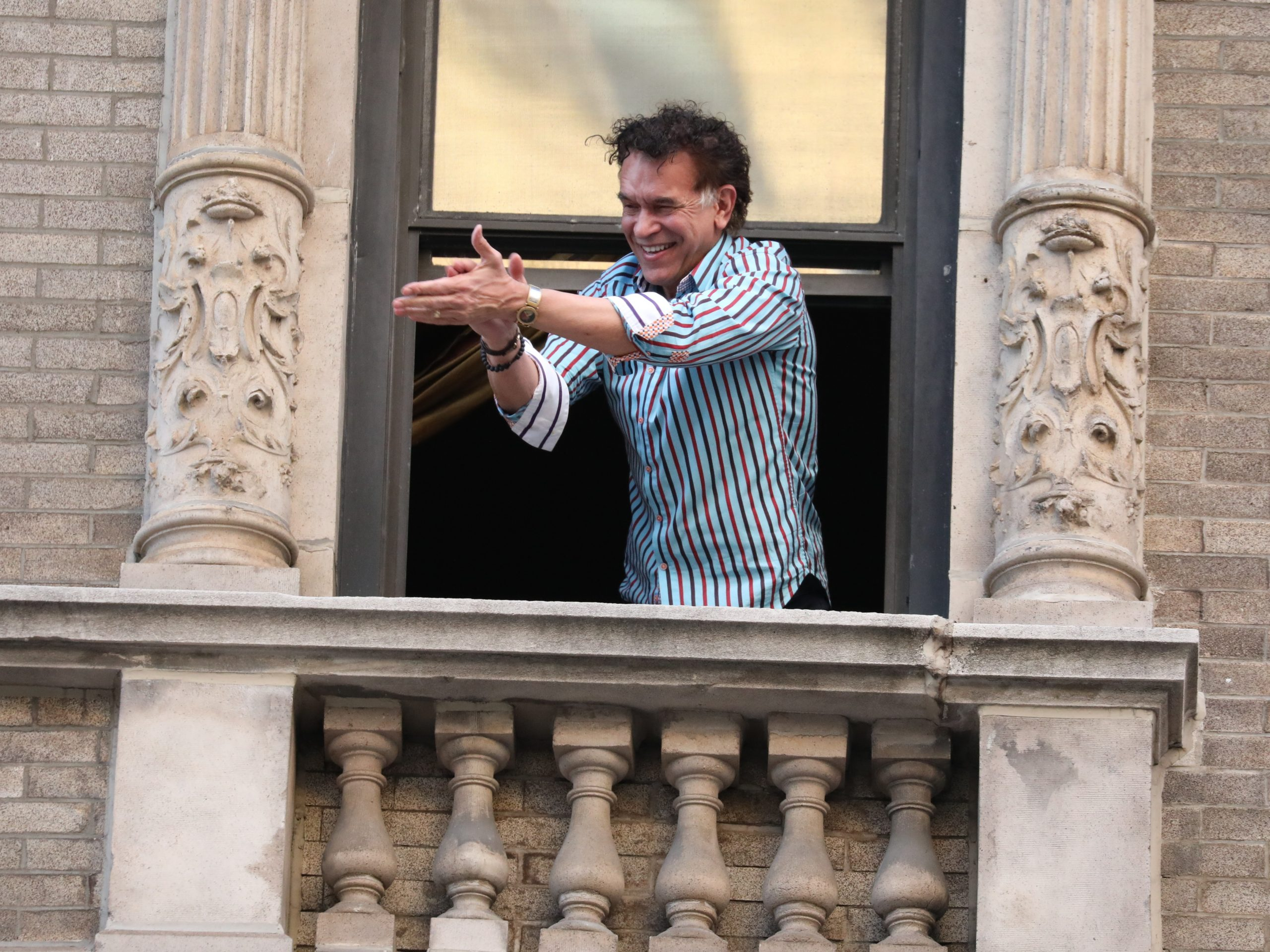 """Broadway star Brian Stokes Mitchell — who has recovered from the coronavirus — sings from his window to show appreciation for New York City's healthcare workers and first responders. """"People need this, too,"""" he says. """"They need that connection. They need to be reconnected to themselves, to their own center, to each other, you know, to feel that we're all in this together."""""""