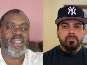 New York City MTA bus operators Tyrone Hampton (left) and Frank de Jesus spoke last week about how the coronavirus pandemic has impacted their work. They talked during a remote StoryCorps conversation.