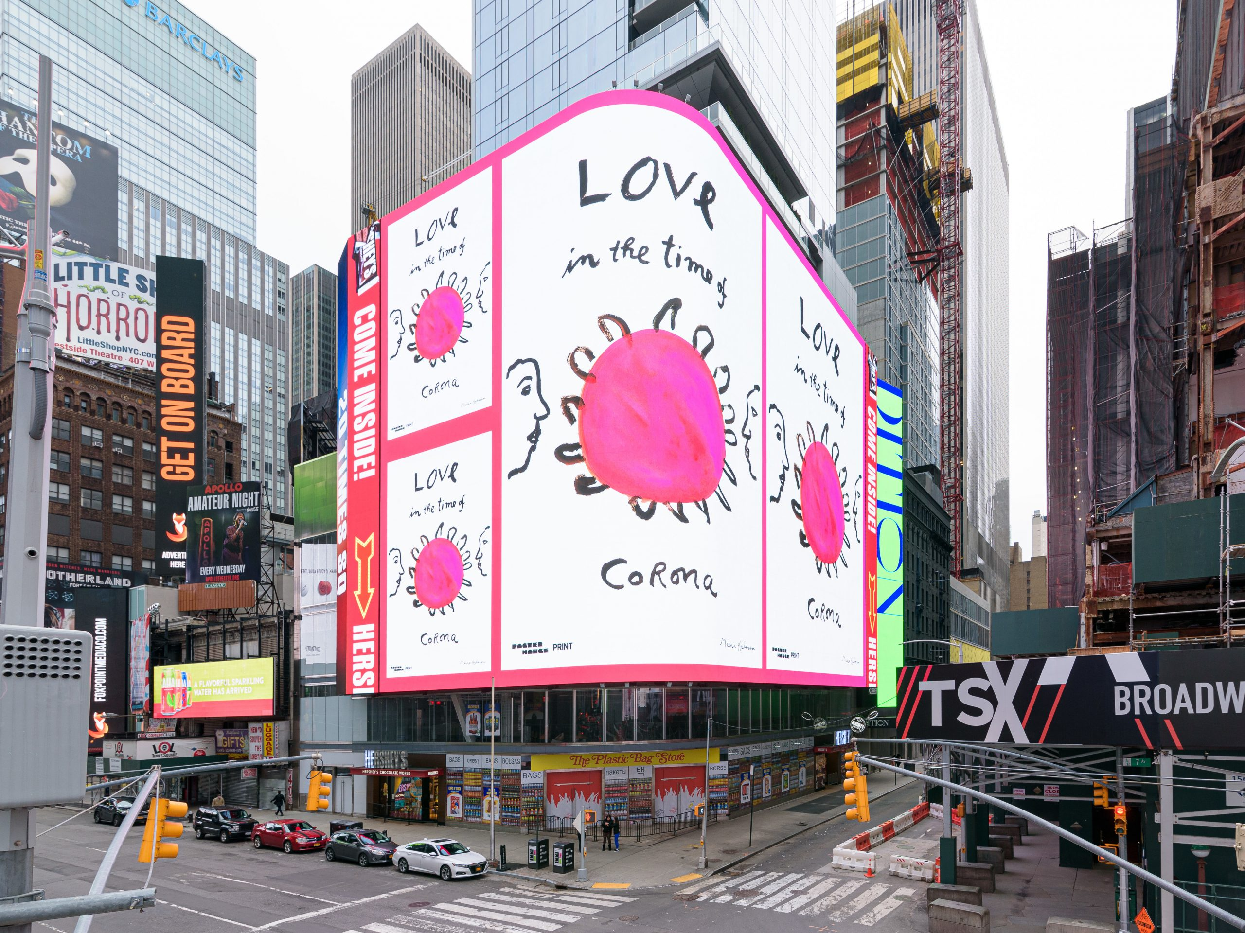 """Times Square billboard owners have donated ad space to make way for artworks about the pandemic such as the one above by illustrator Maira Kalman. Jean Cooney, director of Times Square Arts, says that in healthier times, many people come to Times Square """"because they're seeking something — they feel that if they've come to Times Square then they've seen New York City ... they've seen America."""""""