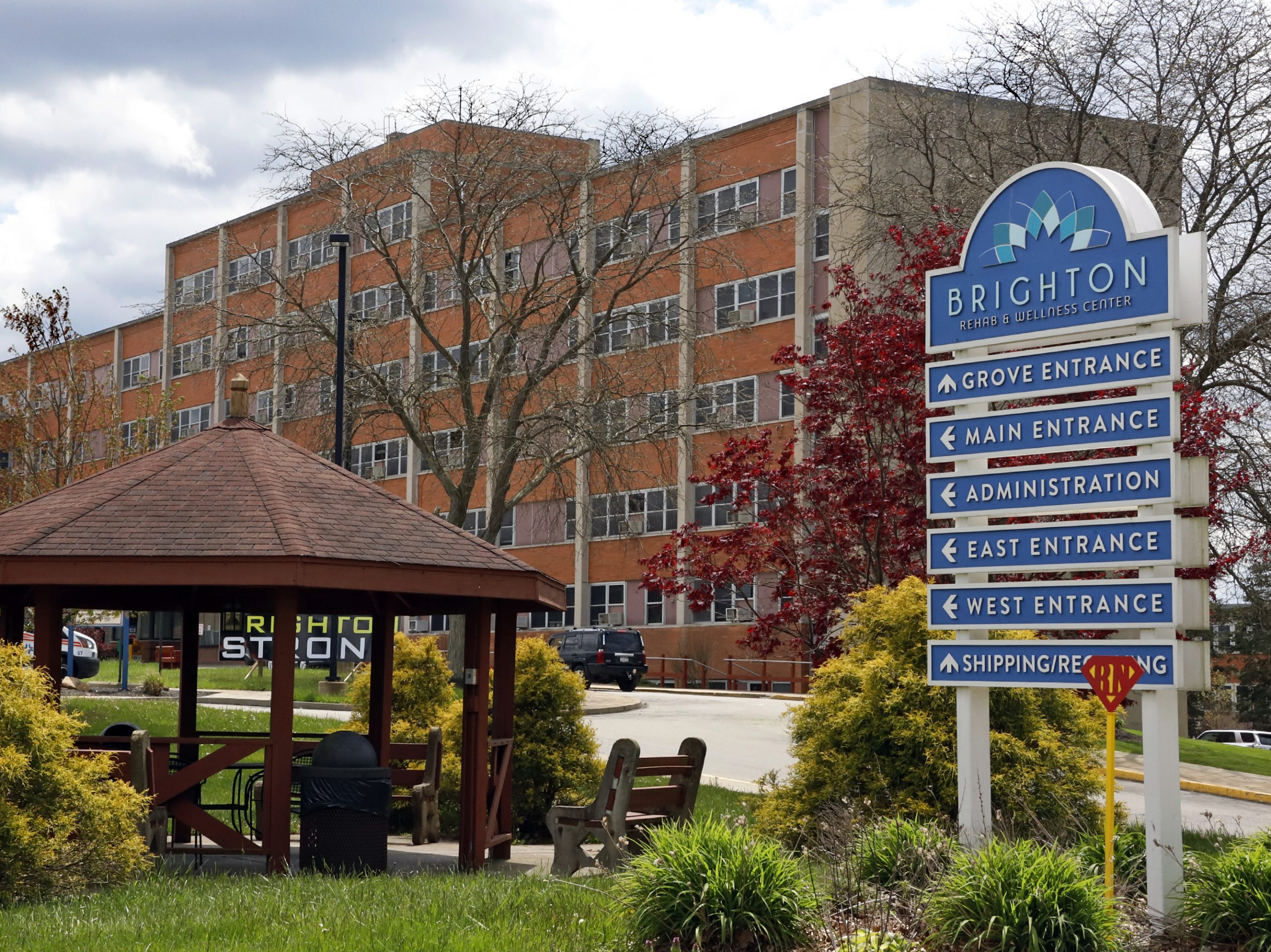 Dozens have died of COVID-19 at the Brighton Rehabilitation and Wellness Center in Brighton Township, Pa., pictured on May 12. Pennsylvania's health secretary defended the state's plan to test every resident and staffer at every nursing home.