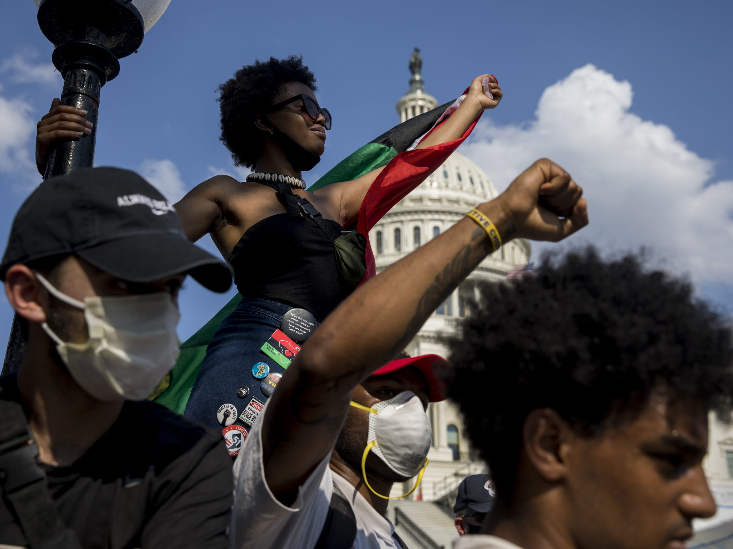 Demonstrators peacefully protest at the U.S. Capitol in Washington, D.C., on Thursday.