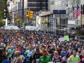 A view of runners take part in the 2019 New York City Marathon.