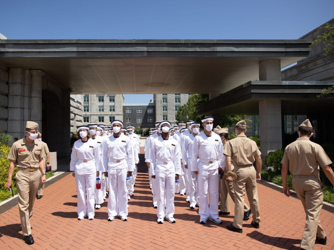 "Plebe Summer Detailers lead a company of incoming freshman students, or ""plebes,"" at the U.S. Naval Academy in Annapolis, Md."