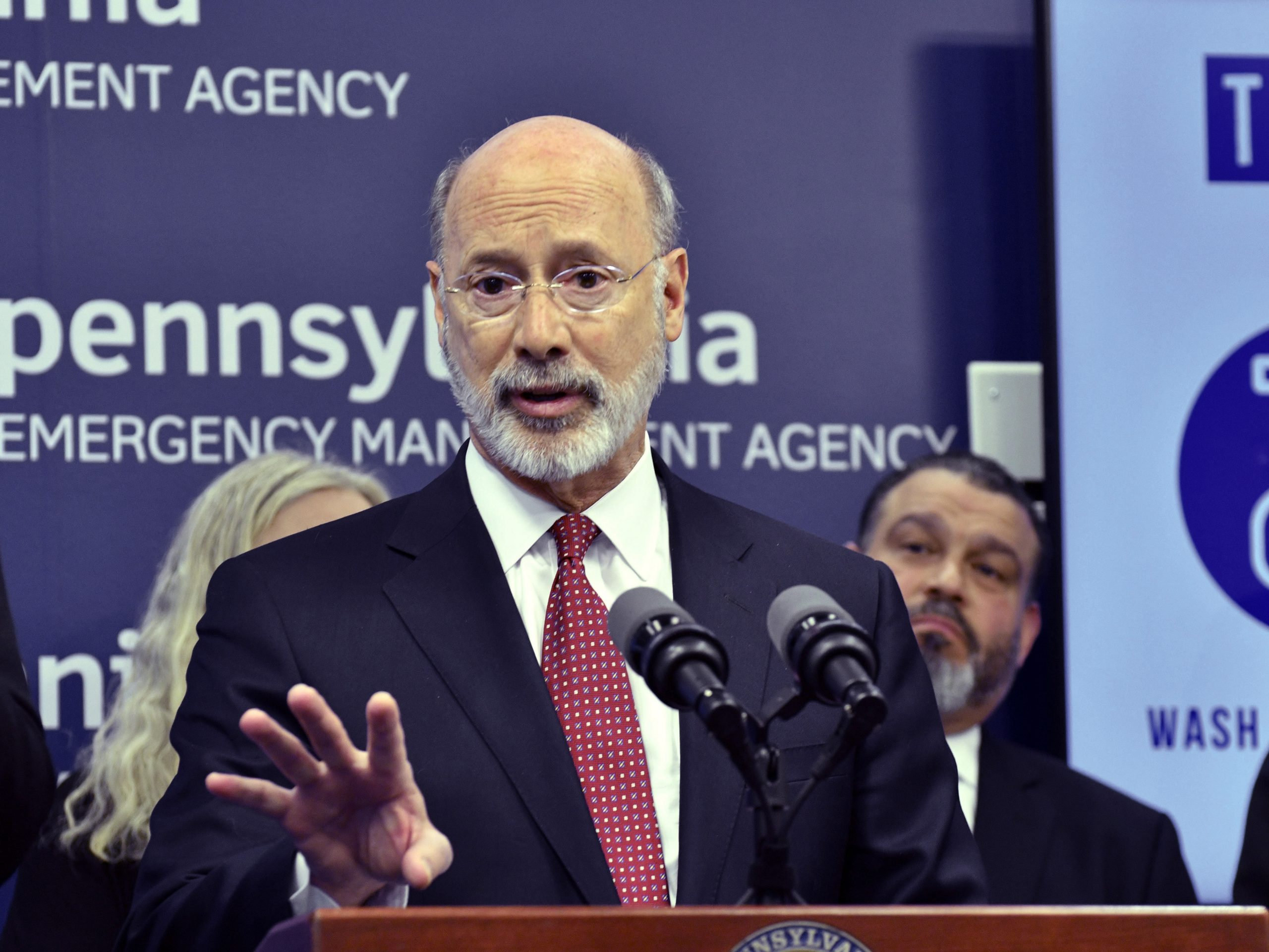 Pennsylvania Gov. Tom Wolf, pictured at a news conference in March, criticized Republicans on Tuesday for celebrating a federal judge's ruling that called some of the state's pandemic response measures unconstitutional.