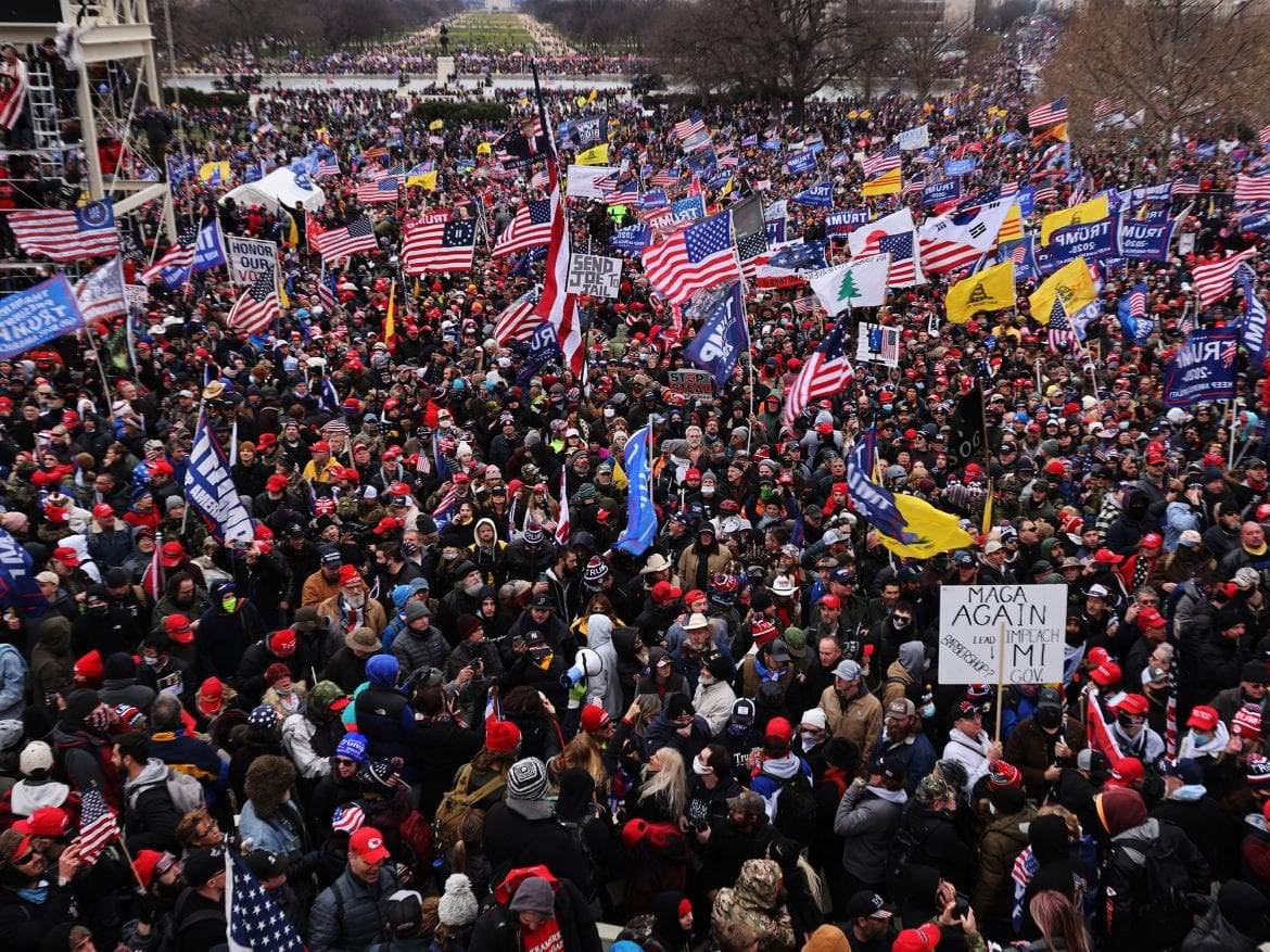 "Thousands of Trump supporters gather outside the U.S. Capitol following a ""Stop the Steal"" rally on Jan. 6. They stormed the historic building, breaking windows and clashing with police. Nearly two months later some 250 rioters are facing charges, including Richard Michetti of Pennsylvania."