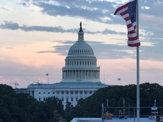 A view of the United States Capitol at sunset