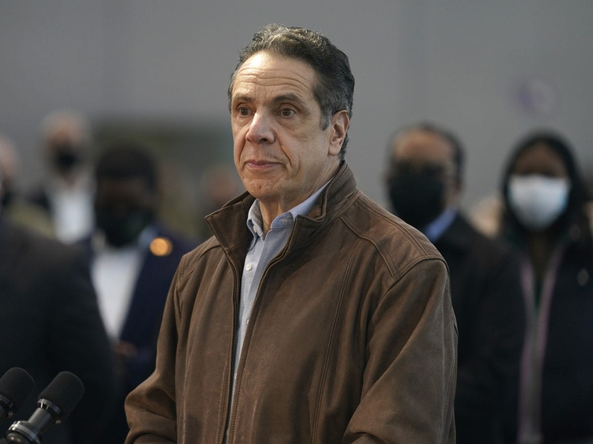 New York Gov. Andrew Cuomo is the subject of new misconduct allegations, after a female aide accused him of groping her. Cuomo is seen here earlier this week, speaking at a vaccination site in New York City.