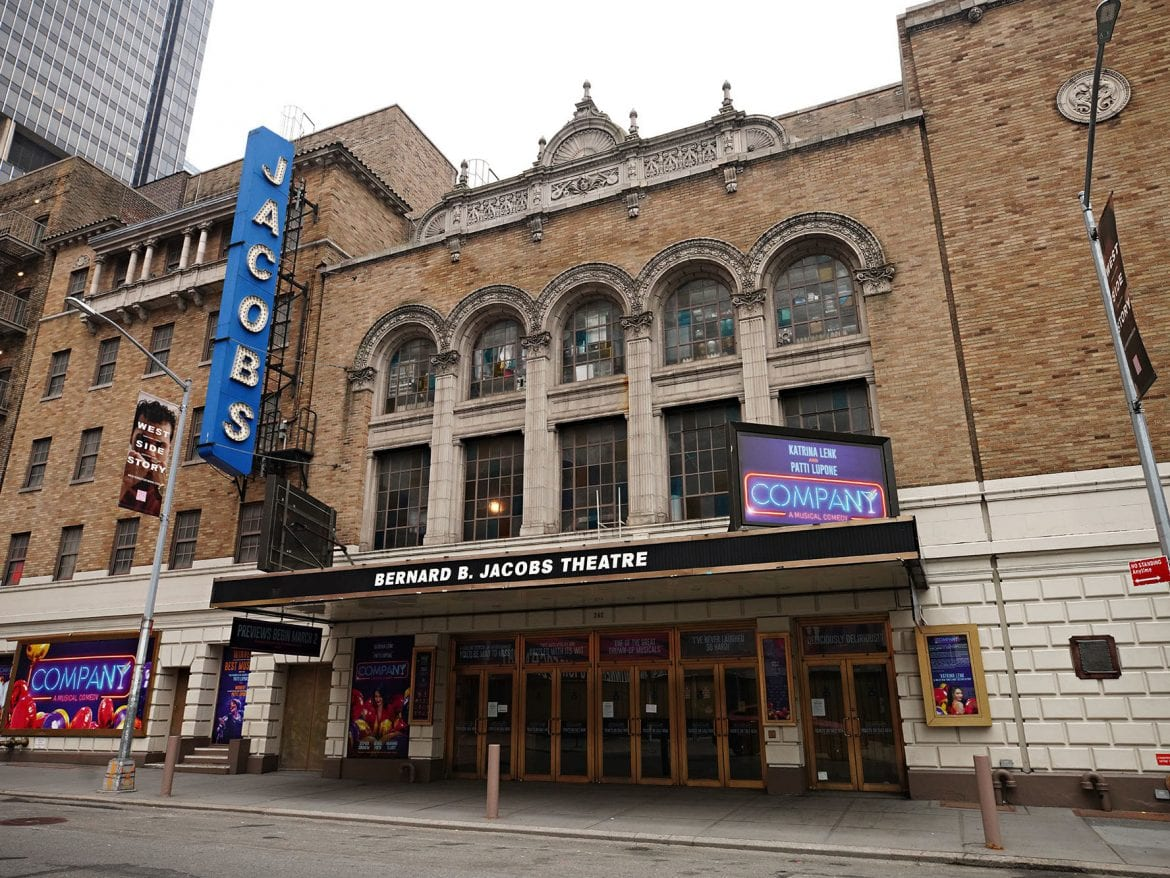 New York Gov. Andrew Cuomo announced Monday that Broadway could reopen in May. Above, the Bernard B. Jacobs Theatre near Times Square on Jan. 15.