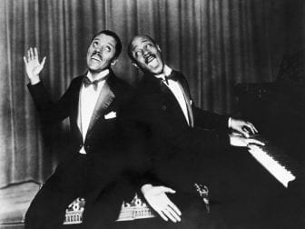 American composer Noble Sissle, left, and pianist Eubie Blake , right, at the piano in 1927.