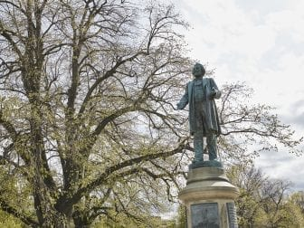 A Frederick Douglass statue in Rochester. The city's parks and streets are decorated with more than a dozen statues of the abolitionist leader.