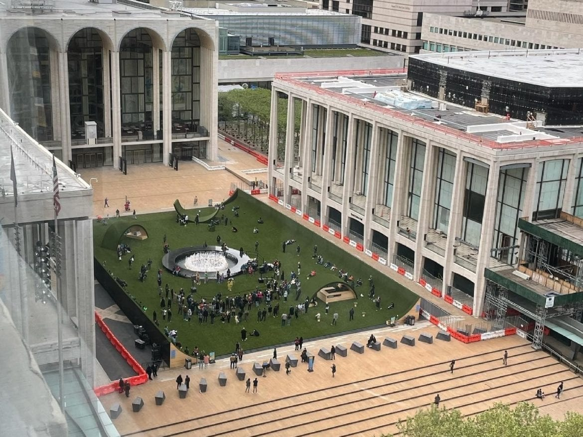 New York's Lincoln Center, as people gather for its reopening on Monday, May 10.
