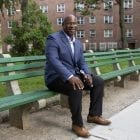Congressman Jamaal Bowman outside of Gun Hill Houses in the Bronx, New York City on Wednesday June 2, 2021.
